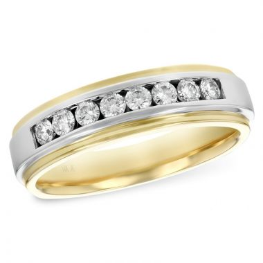 Allison Kaufman 14k Yellow Gold Diamond Men's Wedding Band