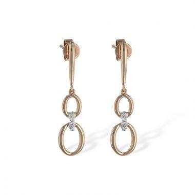 Allison Kaufman 14k Rose Gold Diamond Drop Earrings