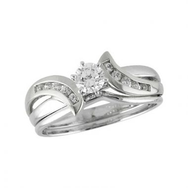 Allison Kaufman 14k White Gold Diamond Bypass Bridal Set