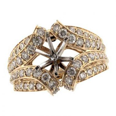 Allison Kaufman 14k Yellow Gold Diamond Free Form Semi-Mount Engagement Ring