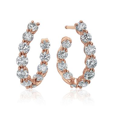 Gumuchian New Moon 18k Rose Gold Diamond Hoop Earrings