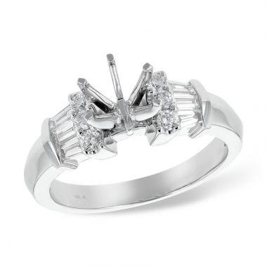 Allison Kaufman 14k White Gold Diamond Semi-Mount Engagement Ring