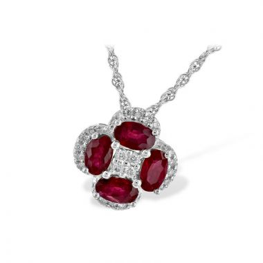 Allison Kaufman 14k White Gold Gemstone & Diamond Necklace