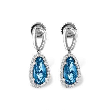 Allison Kaufman 14k White Gold Gemstone & Diamond Drop Earrings