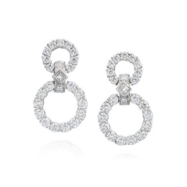 Gumuchian 18k White Gold Diamond Circle Drop Earrings