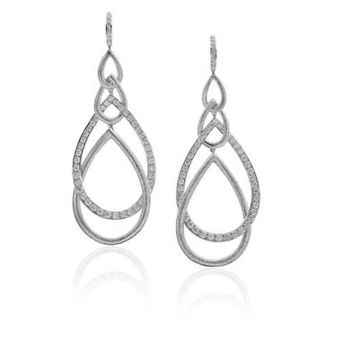 Gumuchian Peacock 18k White Gold Diamond Drop Earrings