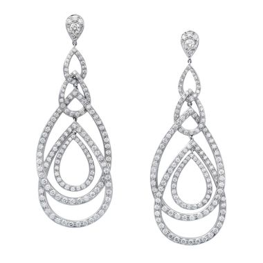 Gumuchian Peacock 18k White Gold Diamond Illusion Drop Earrings