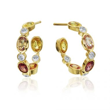 Gumuchian Marbella 18k Yellow Gold Diamond Sapphire Hoop Earrings
