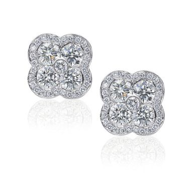 Gumuchian Fleur Platinum Diamond Stud Earrings