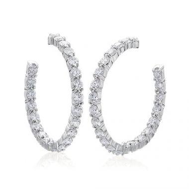 Gumuchian Cascade Riviera 18k White Gold Diamond Straight Hoop Earrings