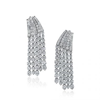 Gumuchian Cascade Riviera 18k White Gold Diamond Fringe Drop Earrings