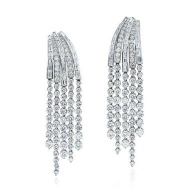 Gumuchian Cascade Riviera Platinum Diamond Fringe Drop Earrings