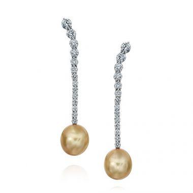 Gumuchian Cascade Riviera Platinum Diamond Pearl Drop Earrings