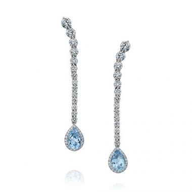 Gumuchian Cascade Riviera Platinum Diamond Aquamarine Pear Drop Earrings