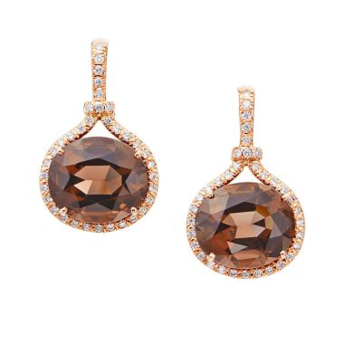 Gumuchian Gallop Equestrian 18k Rose Gold Smokey Quartz Drop Earrings