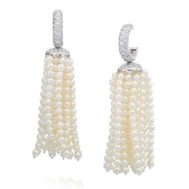 Gumuchian 18k White Gold Pearl & Diamond Tassel Earrings