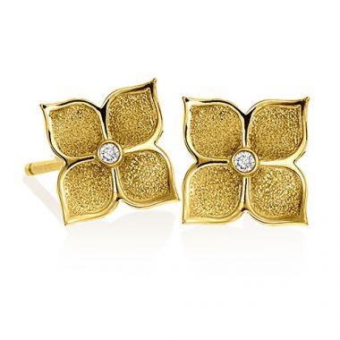 Gumuchian G. Boutique 18k Yellow Gold Diamond Lotus Earrings
