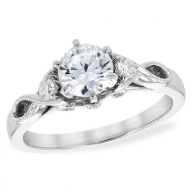 Allison Kaufman 14k White Gold Diamond 3 Stone Semi-Mount Engagement Ring