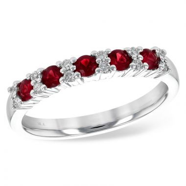 Allison Kaufman 14k White Gold Gemstone & Diamond Wedding Band