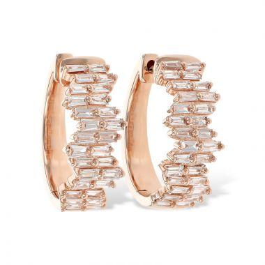 Allison Kaufman 14k Rose Gold Diamond Hoop Earrings