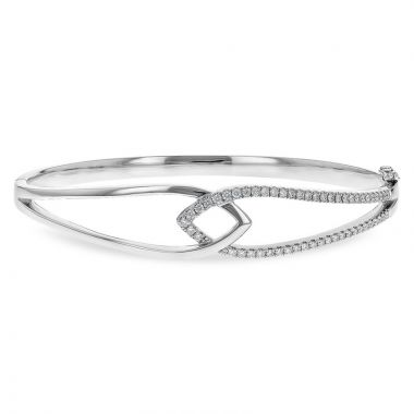 Allison Kaufman 14k White Gold Diamond Bangle Bracelet