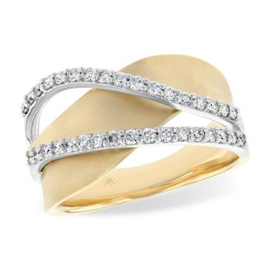 Allison Kaufman Two Tone 14k Gold Diamond Wedding Band