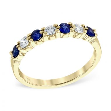 Allison Kaufman 14k Yellow Gold Gemstone & Diamond Wedding Band