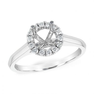 Allison Kaufman 14k White Gold Diamond Halo Semi-Mount Engagement Ring