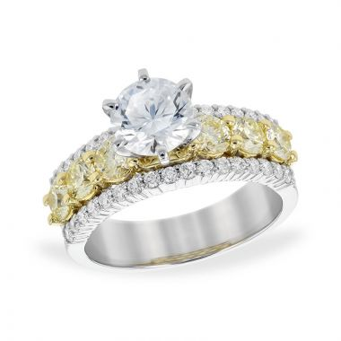 Allison Kaufman Two Tone 14k Gold Diamond Straight Semi-Mount Engagement Ring