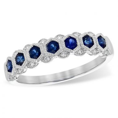 Allison Kaufman 14k White Gold Diamond & Gemstone Wedding Band