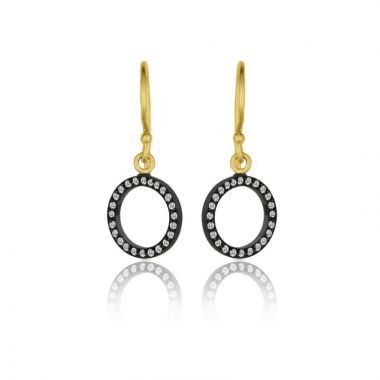 Lika Behar 24k Two Tone Gold and Sterling Silver Diamond Earrings