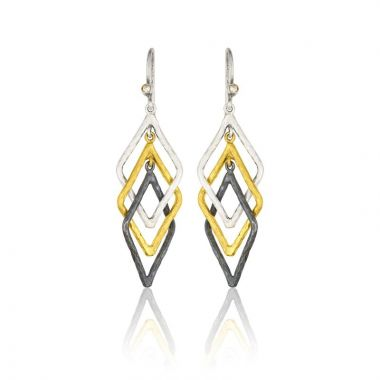 Lika Behar 24k Two Tone Gold and Sterling Silver Diamond Hoop Earrings