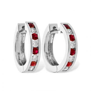 Allison Kaufman 14k White Gold Gemstone & Diamond Hoop Earrings