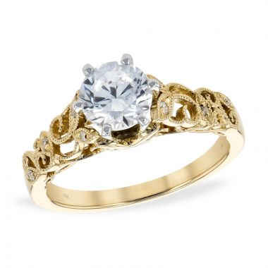Allison Kaufman 14k Yellow Gold Vintage Semi-Mount Engagement Ring
