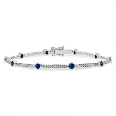 Allison Kaufman 14k White Gold Gemstone & Diamond Bracelet