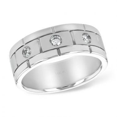 Allison Kaufman 14k White Gold Diamond Men's Wedding Band