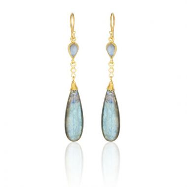 Lika Behar 24k Yellow Gold Diamond and Gemstone Drop Earrings