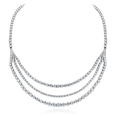 Gumuchian Cascade Riviera Platinum Diamond Necklace