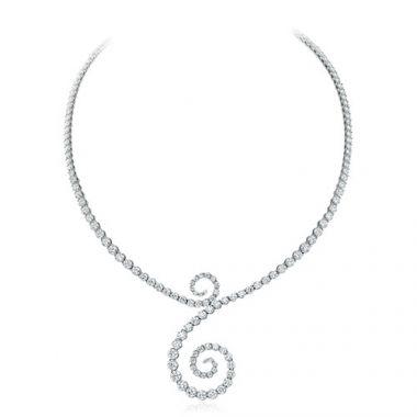 Gumuchian Cascade Riviera 18k White Gold Diamond Symphony Necklace