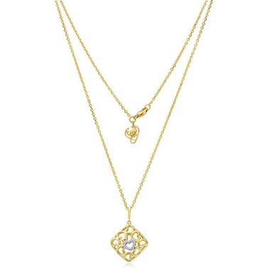 Gumuchian 18k Yellow Gold Diamond Tiny Hearts Small Cushion Motif Pendant