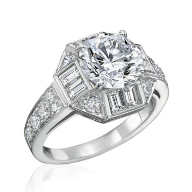 Gumuchian Bridal Platinum Marina Diamond Halo Semi-Mount Engagement Ring