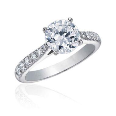 Gumuchian Bridal Platinum Cinderella Diamond Straight Semi-Mount Engagement Ring