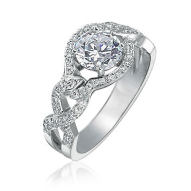 Gumuchian Bridal 18k White Gold Diamond Criss Cross Semi-Mount Engagement Ring