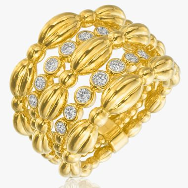 Gumuchian Nutmeg 18k Gold Large Five Row Ring