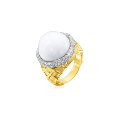 Gumuchian Vanilla Ice Cream 18k Yellow White Gold Ring