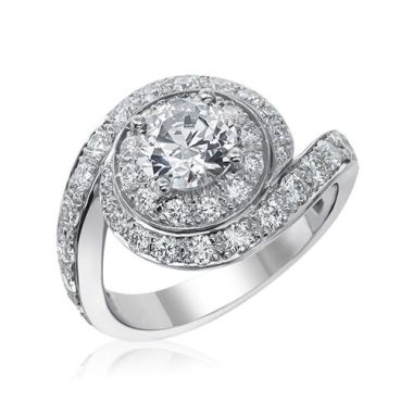Gumuchian Bridal 18k White Gold Bypass Diamond Semi-Mount Swirl Engagement Ring