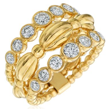 Gumuchian Nutmeg 18k Gold Large Three Row Ring