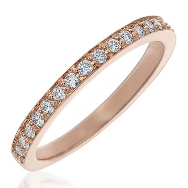Gumuchian 18k Gold Diamond Tiny Hearts Motif Halfway Diamond Wedding Band
