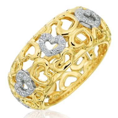 Gumuchian 18k Two Tone Two Tone 18k Two Tone Gold Tiny Hearts Diamond Motif Statement Ring