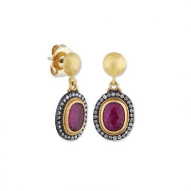 Lika Behar 24k Two Tone Gold and Sterling Silver Diamond and Gemstone Earrings